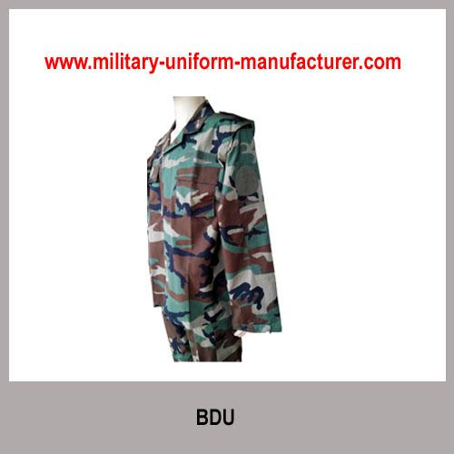 Military Woodland Camouflage Polyester Cotton Battle Dress Uniform for Army wear