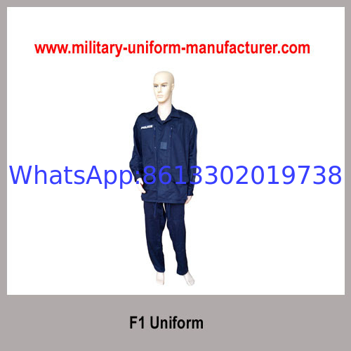 Army Navy Blue Color Satin French Style F1 Military Uniform for Police Wear