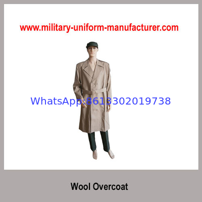 Military Khaki Color Wool Polyester Overcoat For Army Officer Suits